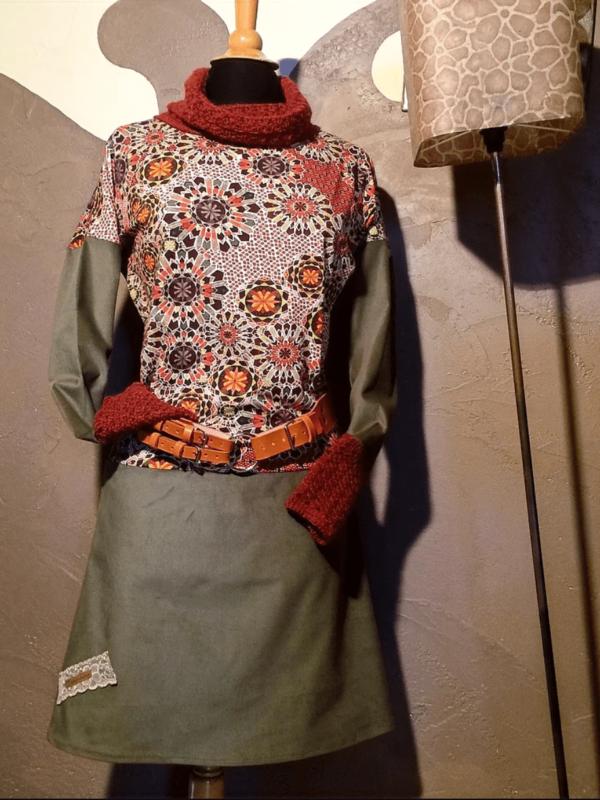 Robe Alpaga et Tissu Brique et Kaki