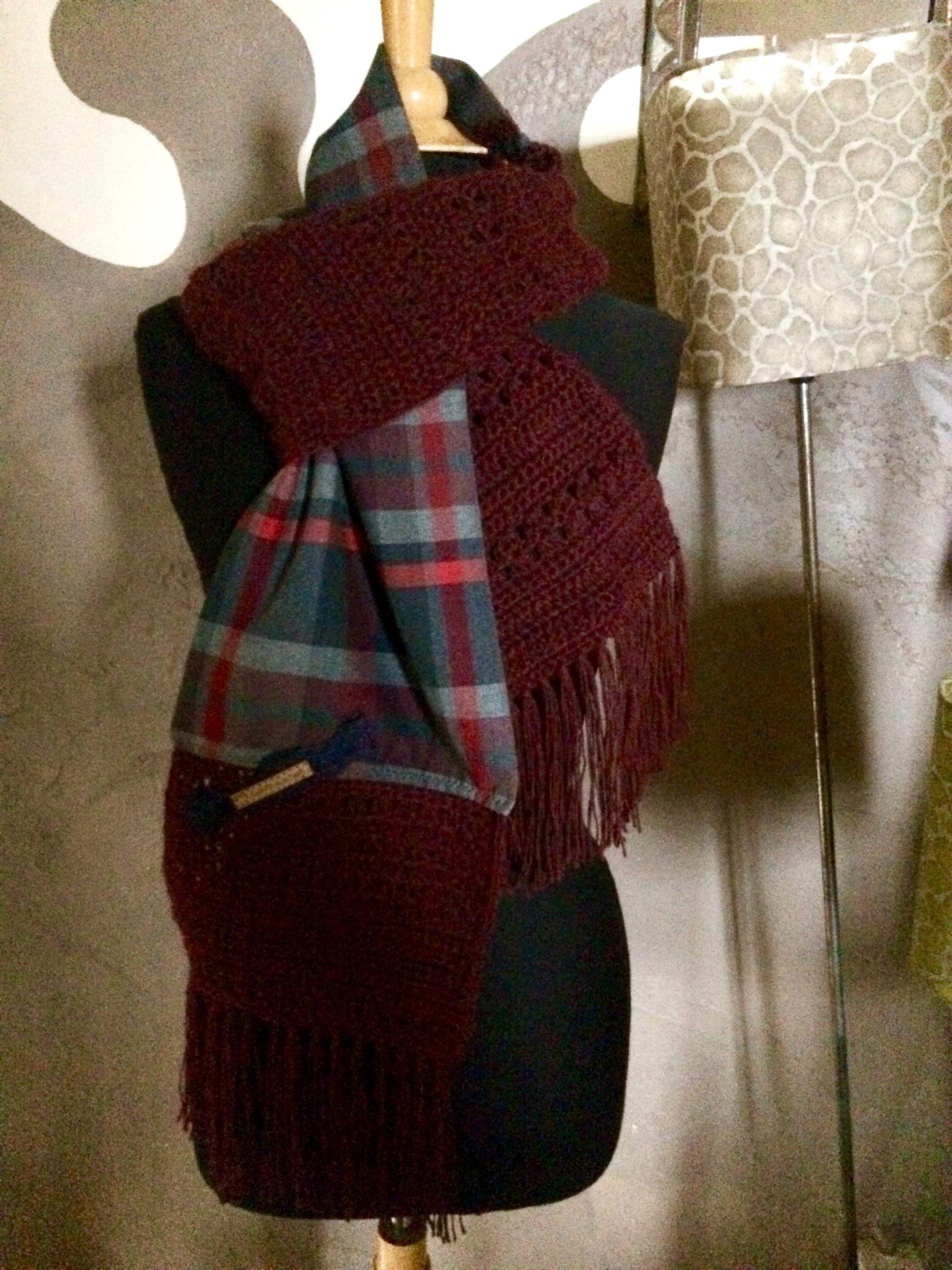 Echarpe Alpaga et tissu écossais