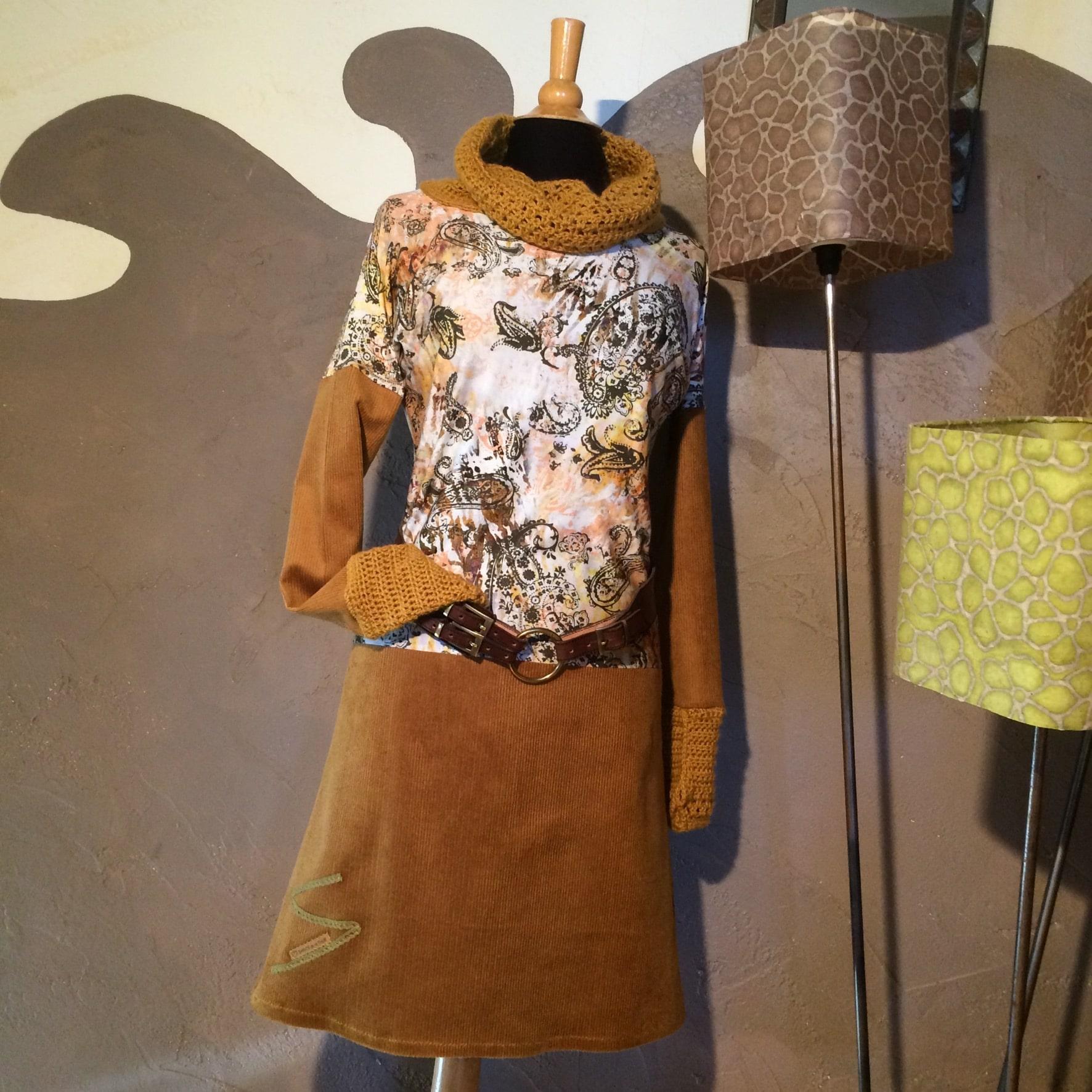 Robe alpaga et tissu curry- Sabots de la Tour