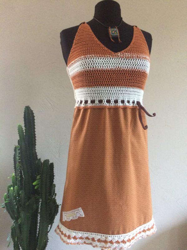 Robe Coton, Terracota / Blanc – Eté :