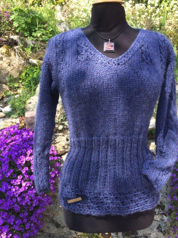Pull Long 100% Alpaga Bleu Jean's – Hiver :